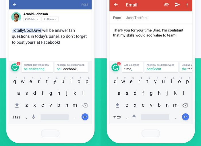 Grammarly Keyboard Best Free Android Apps for 2018