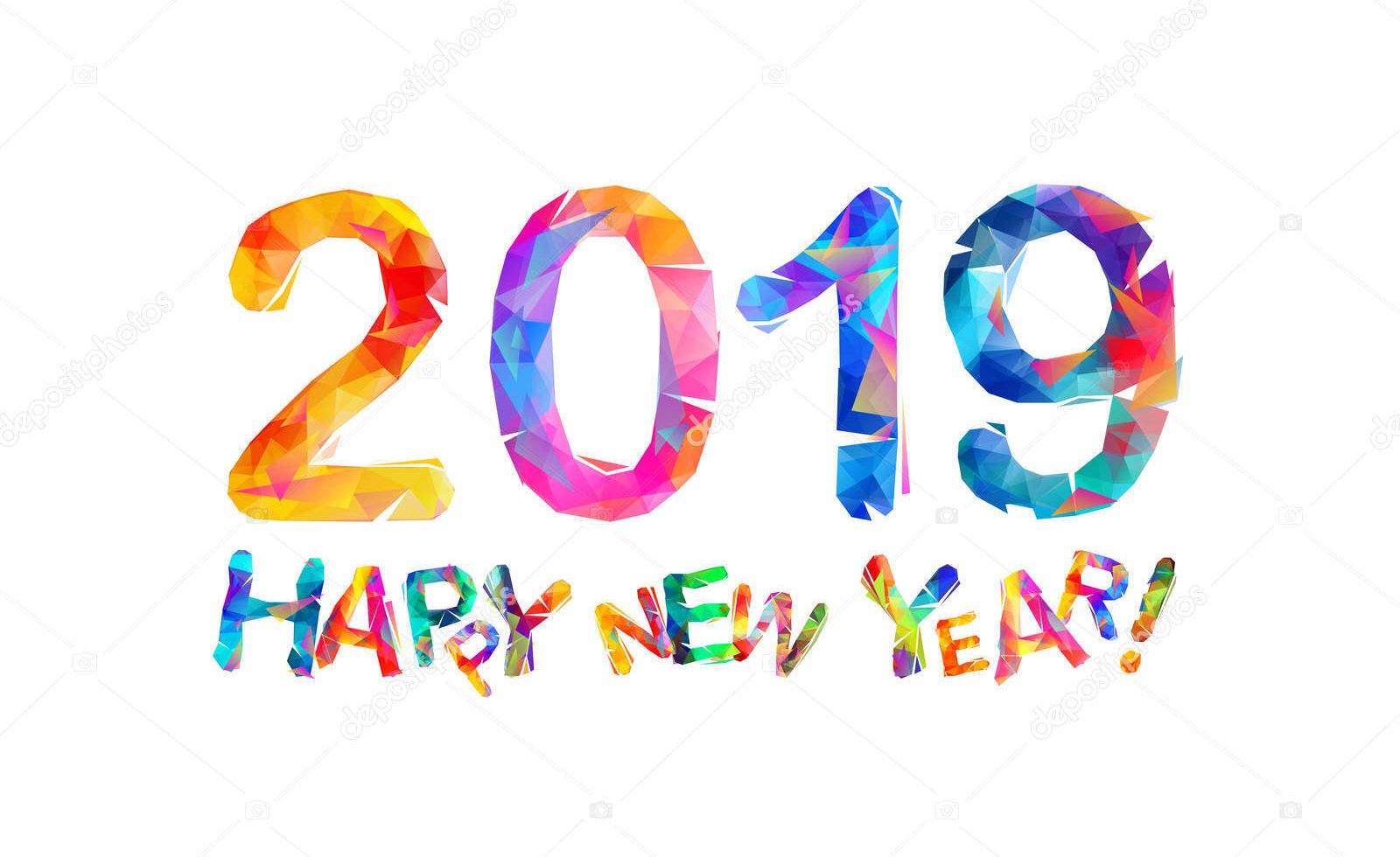 Happy New Year 2019 Congratulation card.