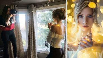 Shooting Amazing Portraits with Christmas Lights in an Ordinary Bedroom