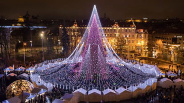 Spectacular Christmas Tree In Vilnius, Lithuania
