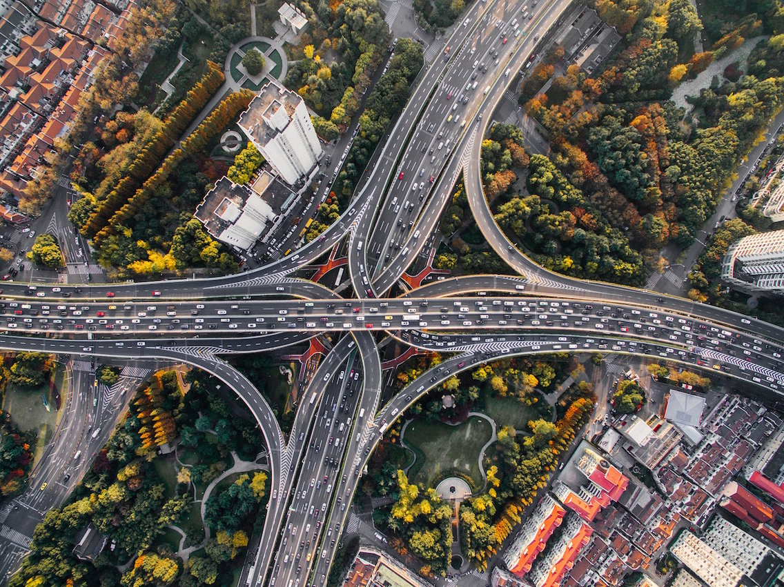 An aerial view of several busy highways in Shanghai, China.