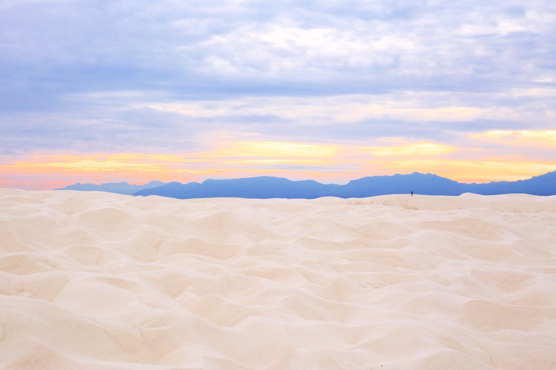 A breathtaking sunset at White Sands National Monument in New Mexico.