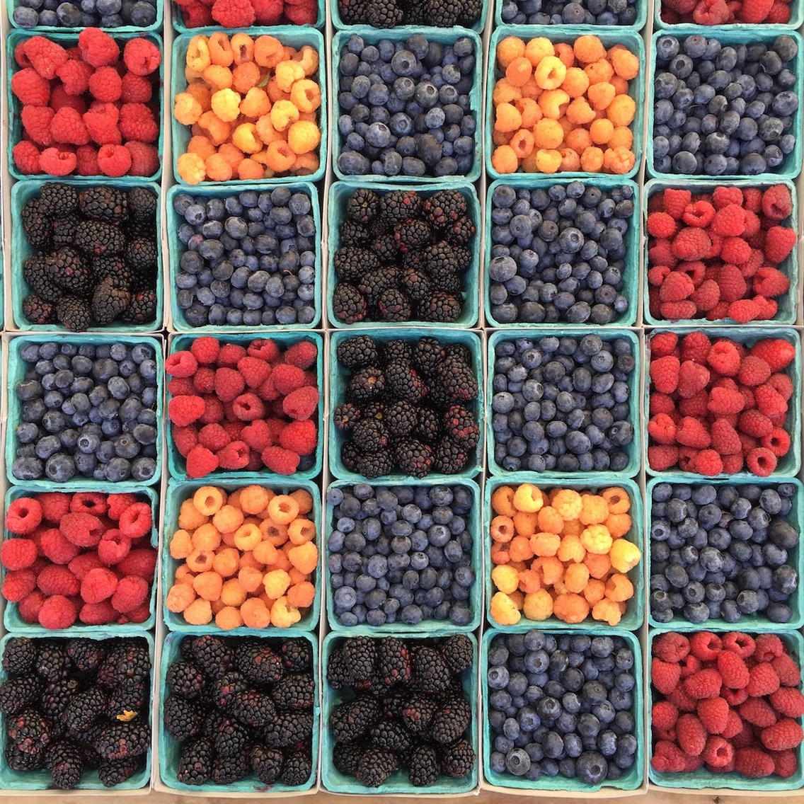 Berries for sale at a market in Los Angeles, California.