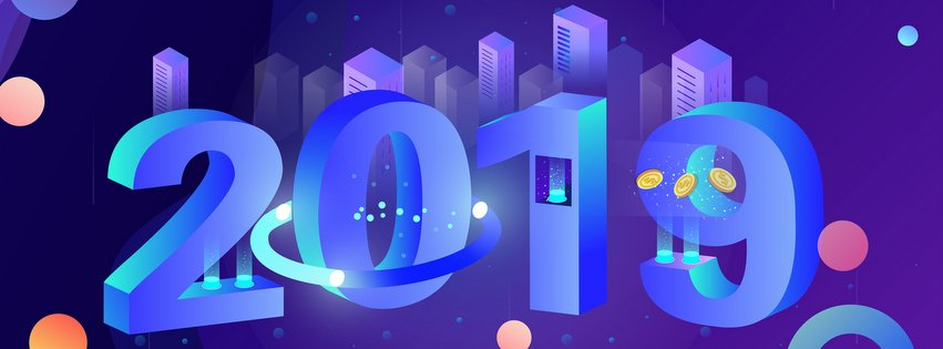 2019 New Year 3D Vector Art Facebook Timeline Cover