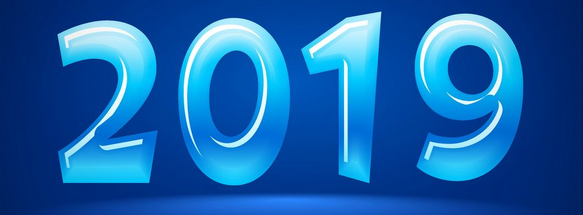 2019 New Year Abstract Blue Background Facebook Cover