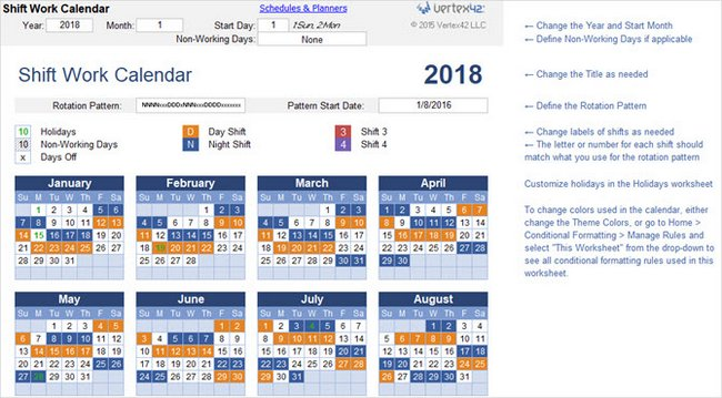Best Free New Year Calendar Template 2018 for the Microsoft Office