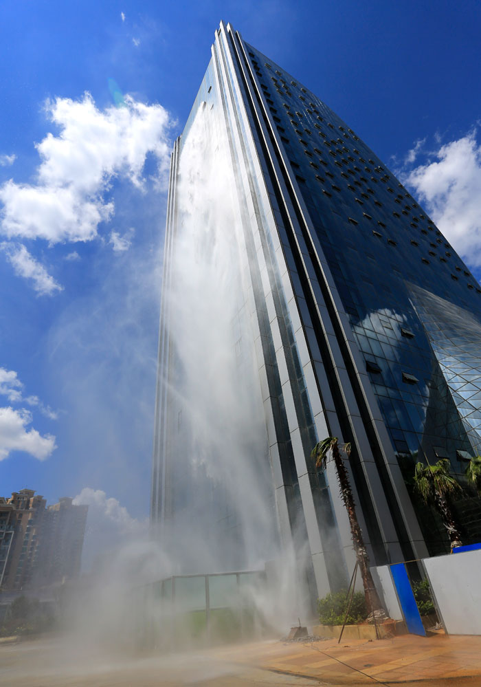 Incredible 350ft Waterfall On A Skyscraper in China