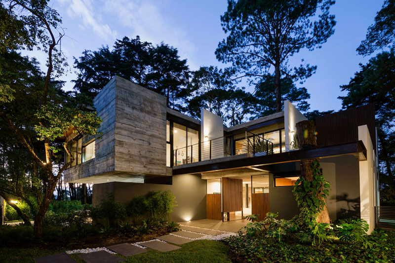 Modern Concrete House Surrounded By A Forest