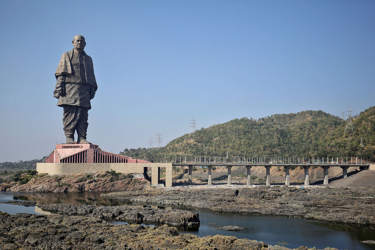 "General view of the ""Statue of Unity"" portraying Sardar Vallabhbhai Patel, one of the founding fathers of India, during its inauguration in Kevadia, in the western state of Gujarat, India, October 31, 2018."
