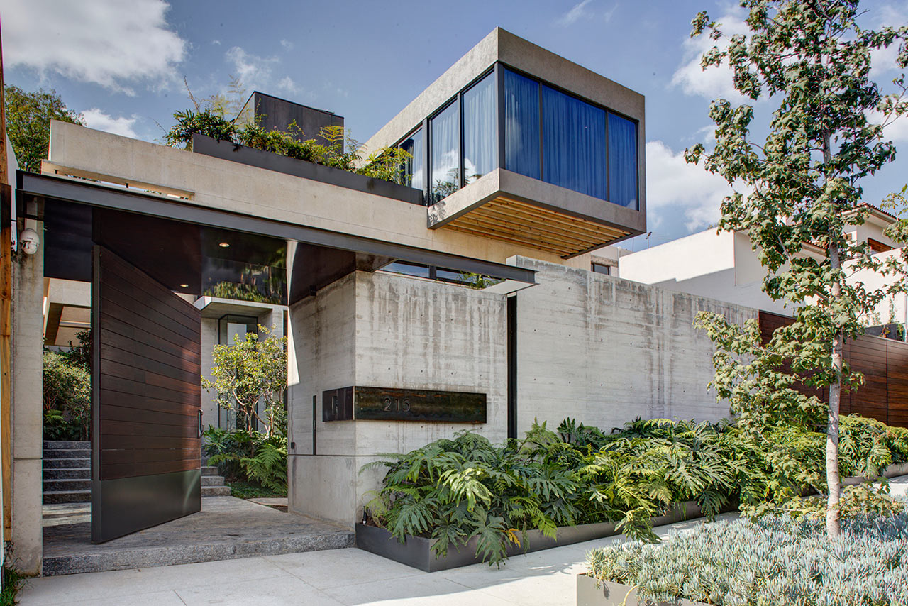 Beautiful Concrete House Surrounded by Gardens in Mexico City