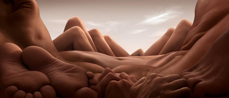 Photographer Creates Stunning Landscapes With Muscular Human Bodies