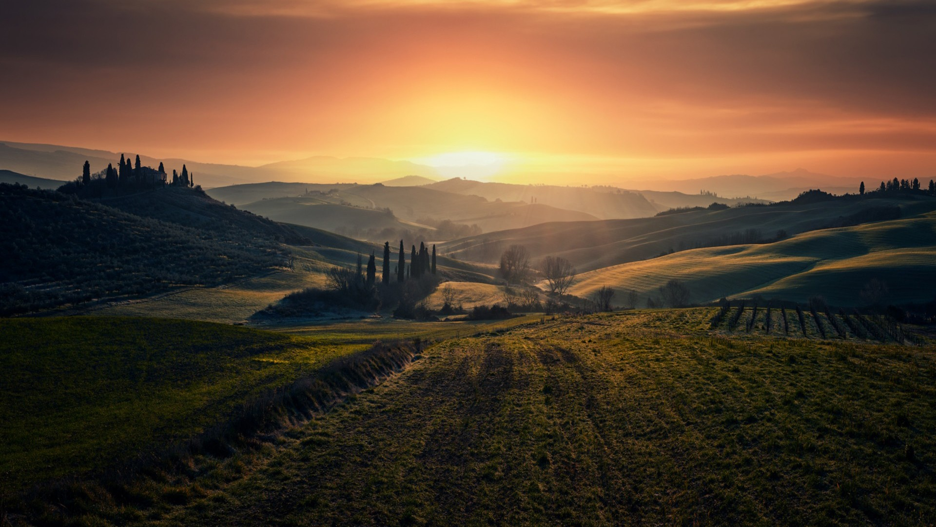 Tuscany Valley And Grass Field During Sunset HD Nature